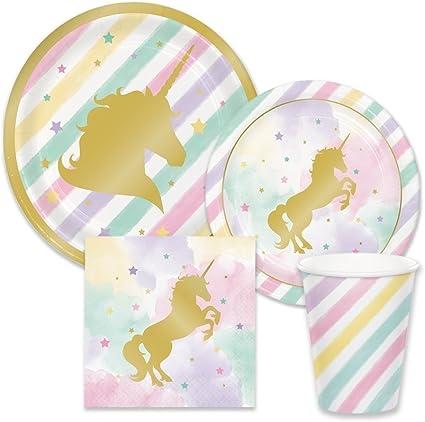 Amazon.com: Suministros para fiesta de unicornios rosas y ...