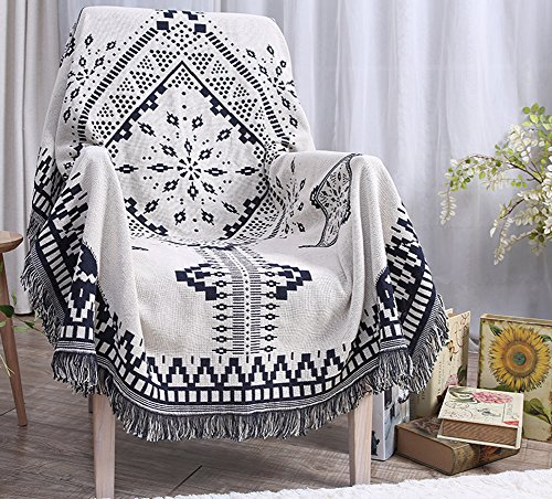 ChezMax 100% Pure Cotton Bohemian Style Woven Couch Throw Blanket Bedroom Decor Beach Blanket Decorative Tassels White 51