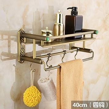 Toallero de pared Todos los estantes antiguos de cobre de estilo europeo para estantes de baño