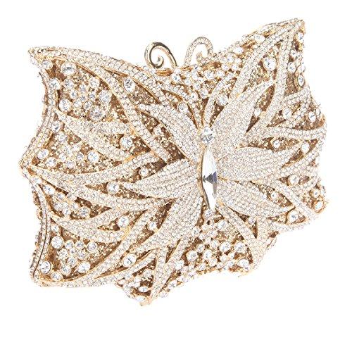 For Bonjanvye Shape Bag Evening Butterfly Shining Purse Ladies Handbags Gold Blue Clutch 7qqcRIwH