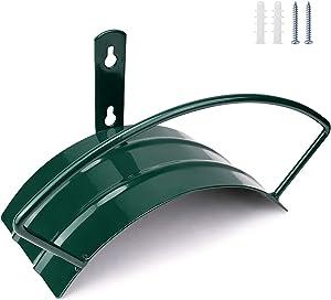 Deluxe Wall Mount Garden Hose Hanger Duty Metal Hose Holder Easily Holds 125 3/4'' Hose Solid Steel Extra Bracing Forest Green