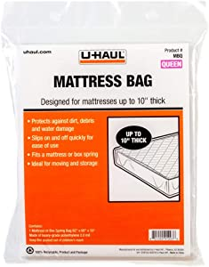 "U-Haul Standard Queen Mattress Bag – Moving & Storage Cover for Mattress or Box Spring – 92"" x 60"" x 10"""