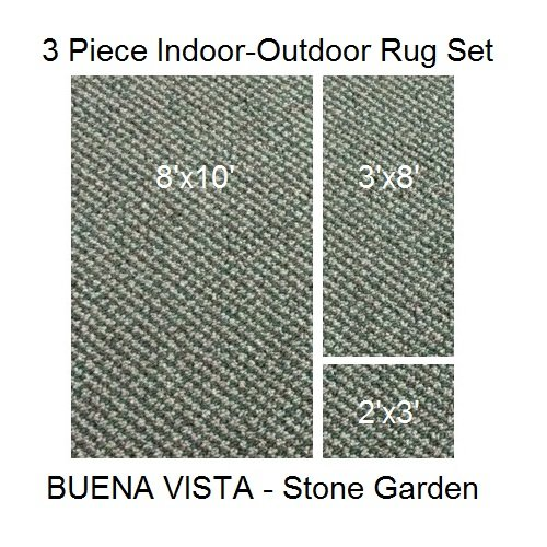Koeckritz Rugs 3 Piece Set Buena Vista Indoor/Outdoor Carpet Area Rug 8'x10', Runner 3'x8' and Door Mat 2'x3' (Stone Garden) (Bella Furniture Outdoor Vista)