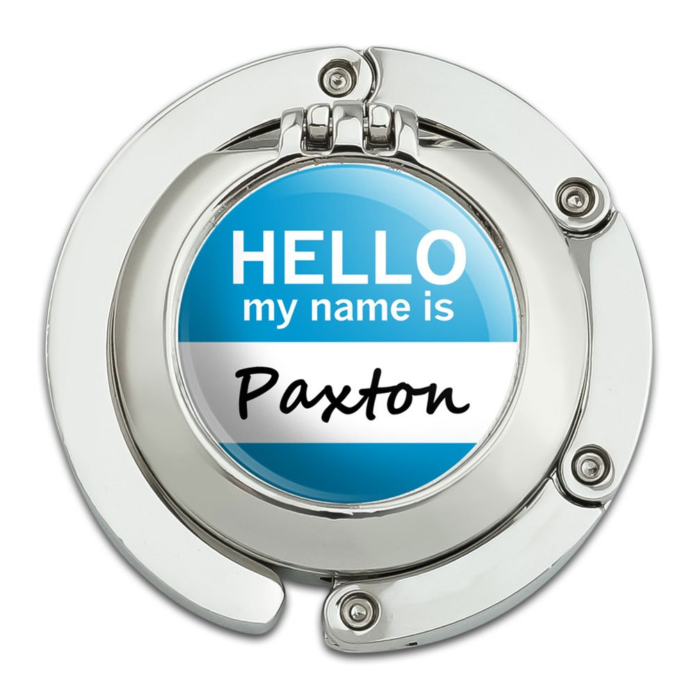 Paxton Hello My Name Is Foldable Table Bag Purse Caddy Handbag Hanger Holder Hook with Folding Compact Mirror