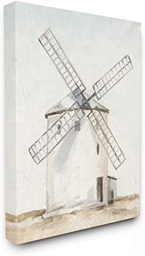 Stupell Industries Windmill Farm Landscape Neutral Blue Brown Painting