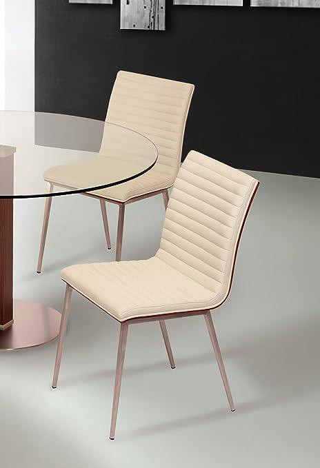 Amazon.com: Armen Living Set de 2 sillas de comedor café ...