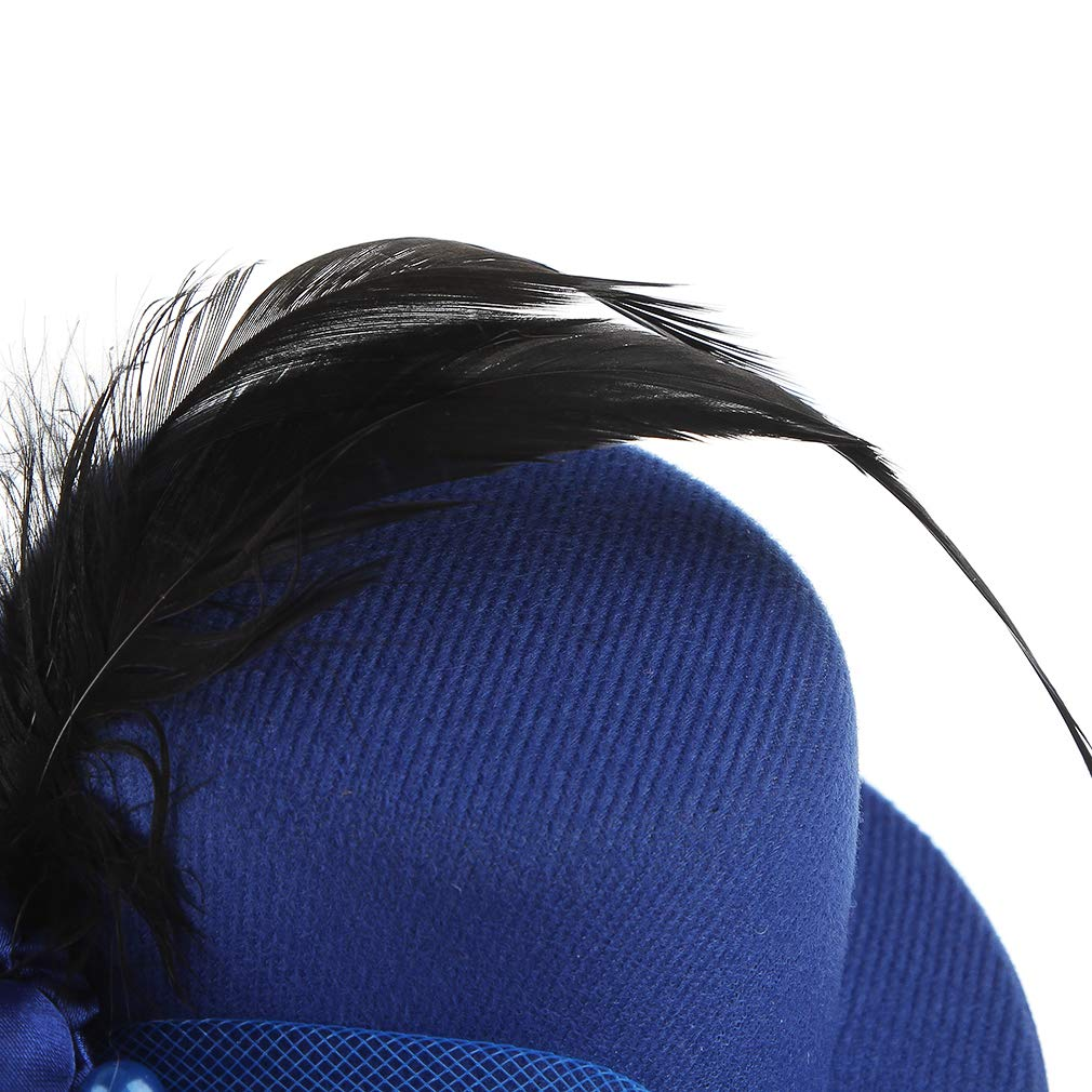 Gemvie Girls Fascinator Mesh Flower Feather Pillbox Hat Hairclips Wedding Headwear Party Prom Mini Top Hat Hair Clips