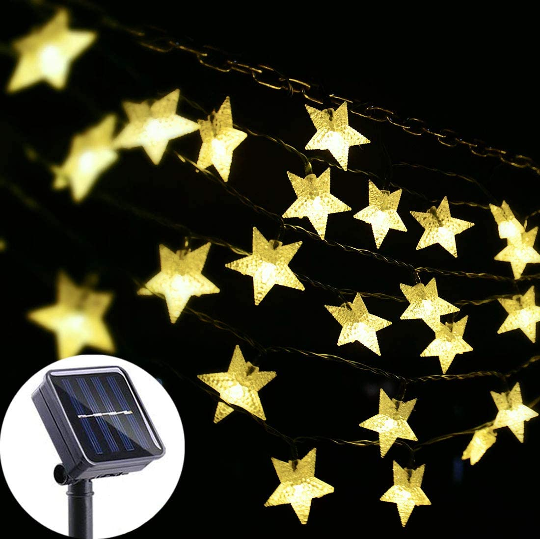 Viewpick Solar Star String Lights Outdoor Solar Powered String Lights, 30ft 50 LED Twinkling Fairy Lights for Garden, Outdoor, Lawn Patio, Landscape, Xmas, Holiday Decorations (Warm White)