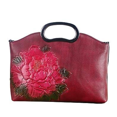2018 China Style Genuine Leather Handbag for Women Lady Handmade Big Flower  Fashion Shoulder Bag  Handbags  Amazon.com 155c8c21430a6