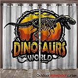 Dinosaur Outdoor Curtains for Patio Sheer Dinosaurs World Emblem with Tyrannosaur Skeleton Dead Scary Beast Fossil W108 x L84(274cm x 214cm) -  WilliamsDecor