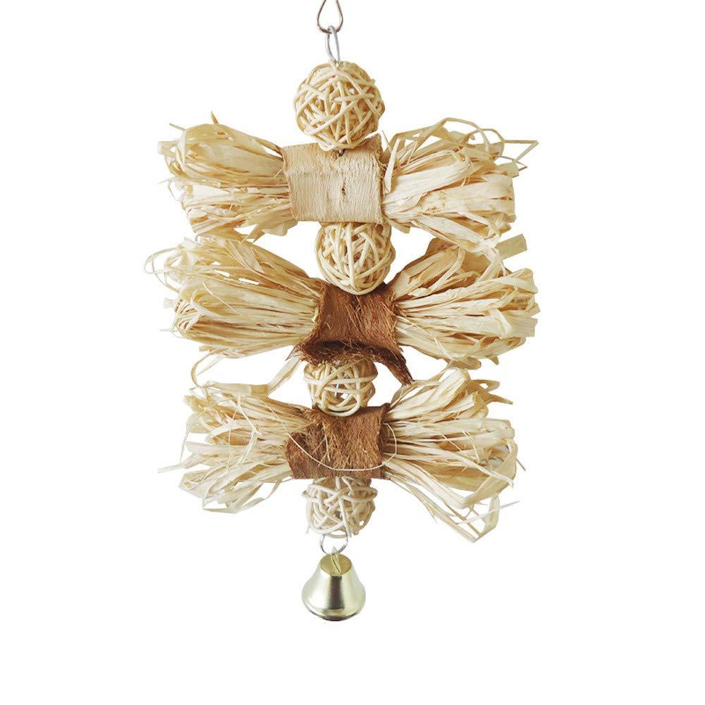 "HUN Huangou Plant Fiber Parakeet Chewing Toy Parrot Bird Bites Swing Loofah Vine-23cm×12cm/9''×4.7"" (Beige, 23cm×12cm/9''×4.7"")"