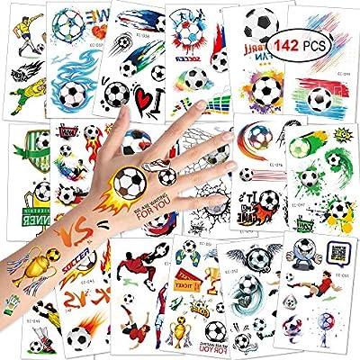 Konsait fútbol Tatuajes temporales niños Falso Tatuaje Temporal Pegatinas Tatoos Infantiles Chicos Fiestas cumpleaños de niños Regalo piñata, 18 Hojas