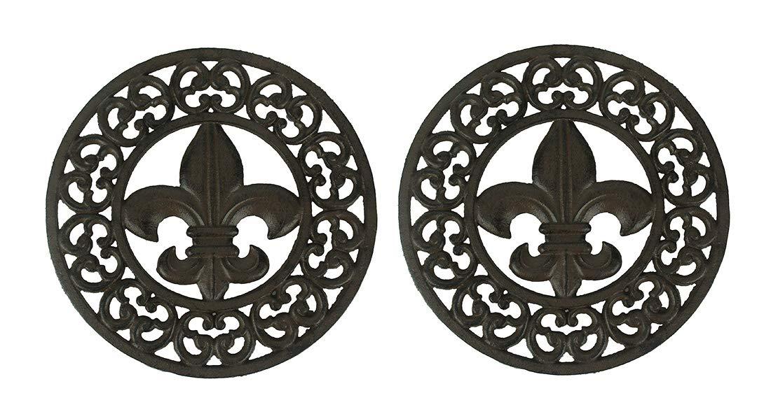 Set of 2 Distressed Finish Cast Iron Fleur de Lis 10 Inch Table Trivets by Zeckos