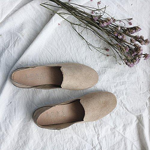 Suede Casual Qiusa On Ballets Eu Femme 38 Flats coloré Noir Chaussures Taille Faux Kaki Slip 55gWq1