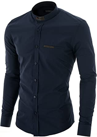 MODERNO - Cuello Mao Camisa para Hombre Azul Oscuro EU XL: Amazon.es: Ropa y accesorios