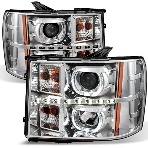 For GMC Sierra Pickup Chrome Clear Exclusive Halo Projector Ultra Bright SMD DRL LED Headlights Lamps -
