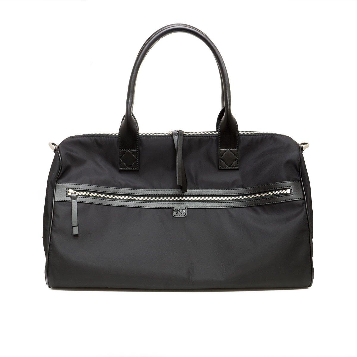 Prospect Park Men's Black Duffle Bag Casual Weekend Travel Nylon Leather Trim