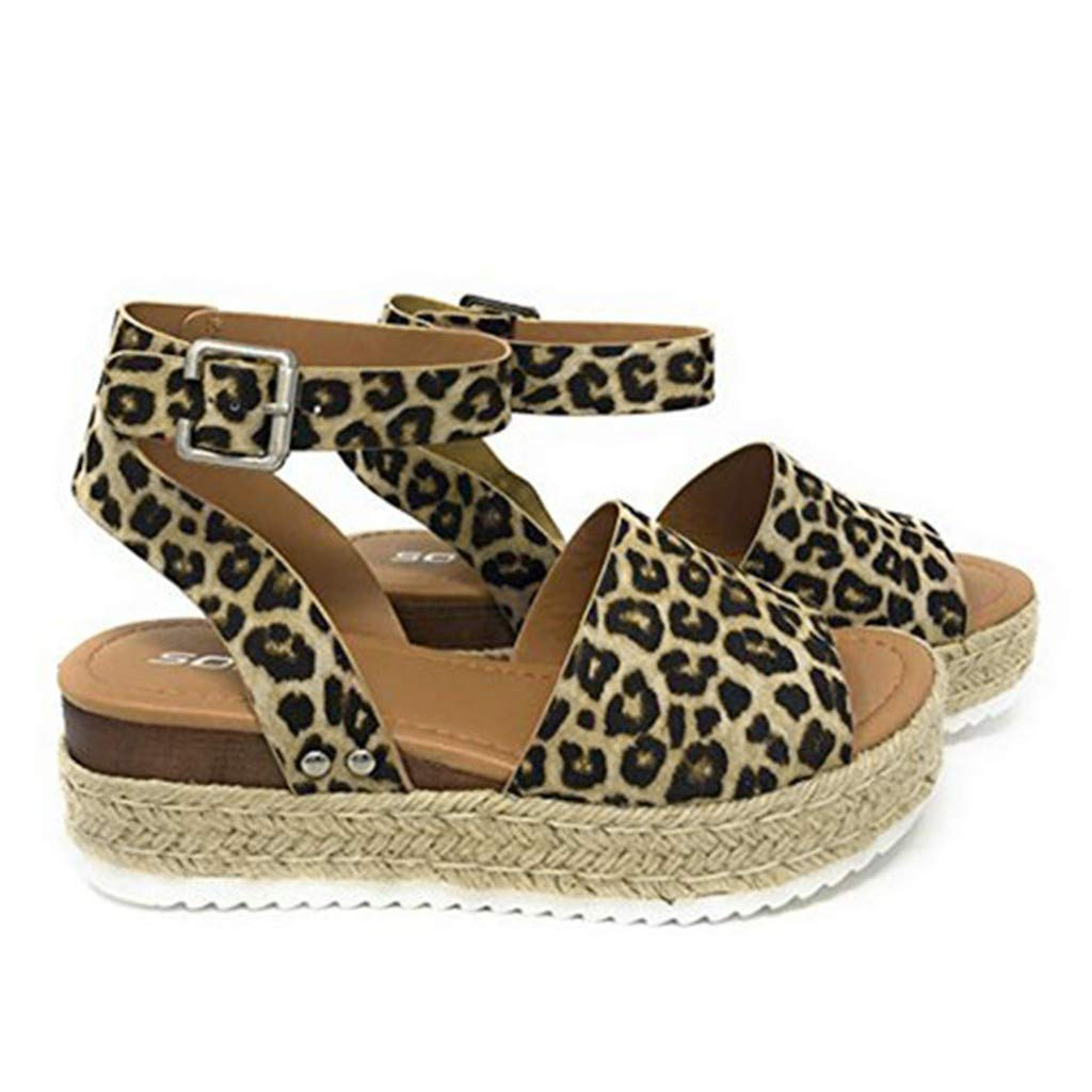 2019 Women Summer Fashion Retro Leopard Sandals Buckle Strap Wedges Peep Toe Shoes Sandals (Brown, Size:35)