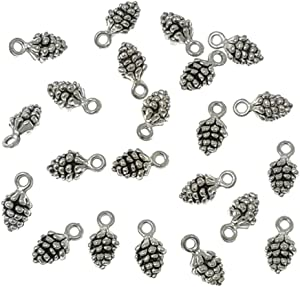Alimitopia 50pcs Christmas Pine Cone Small Pendant Nature Nuts Charm for DIY Jewelry Making Accessories(Antique Silver Tone)
