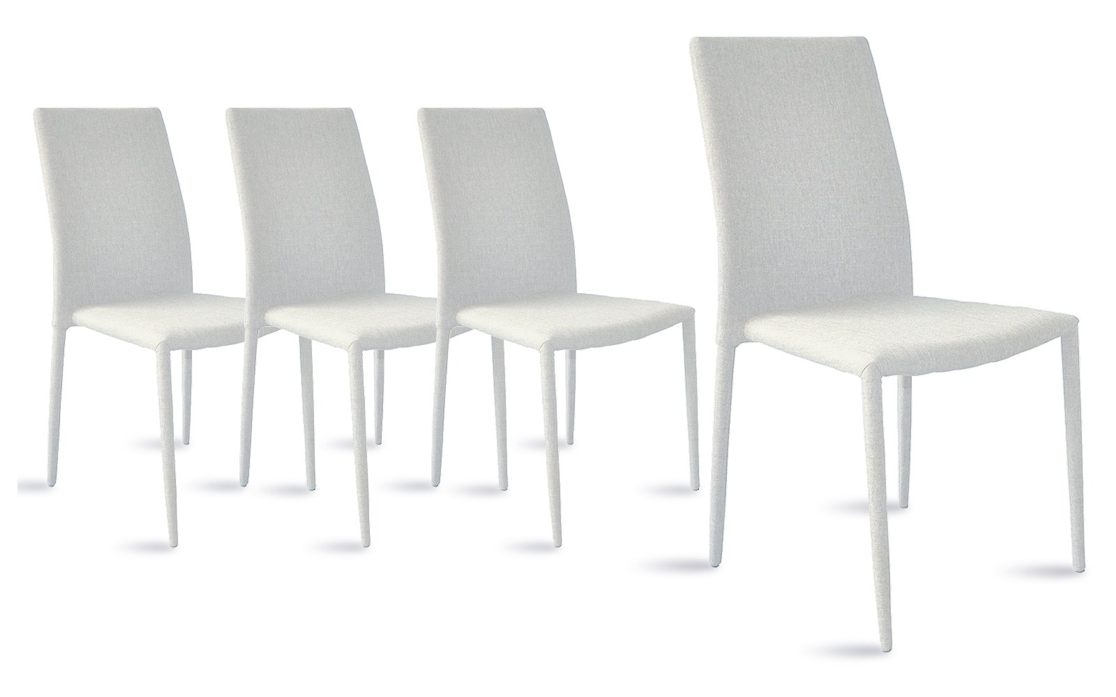 Dining Room Chairs Set of 4, Fabric Chair for Living Room 4 Pieces (White)