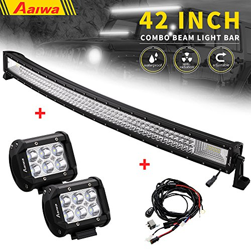 Triple Curve (LED Light Bar Kit, Aaiwa 42Inch 540W Curved LED Light Bar Kit Combo Beam Curve Light Bar with 2 pcs 18W Spot Light & DT Wiring Harness for Off Road,Jeep, Truck, Car, ATV, SUV)