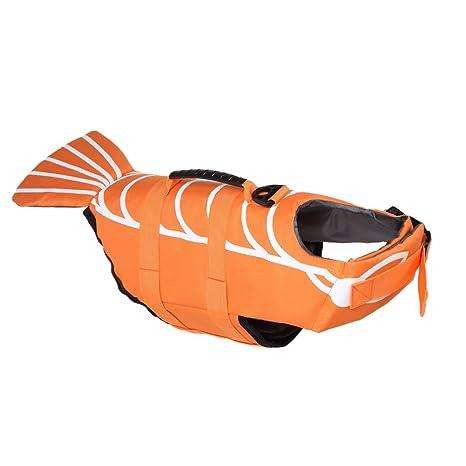 Yunt Perros flotador naranja de pescado diseño de salvavidas Pet Life Jacket