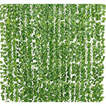 Yatim 78-Ft 12 Stands Artificial Greenery Fake Hanging Vine Plants Leaf Garland Hanging Wedding Party Garden Outdoor Greenery Office Wall Decoration