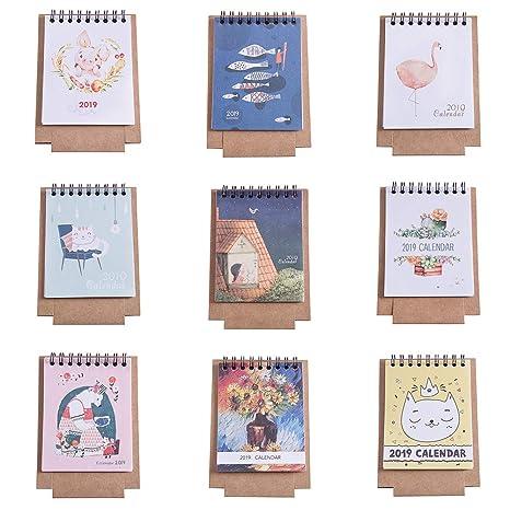 Calendario Dibujo 2019.Silverone 2019 Mini Calendario De Escritorio Con