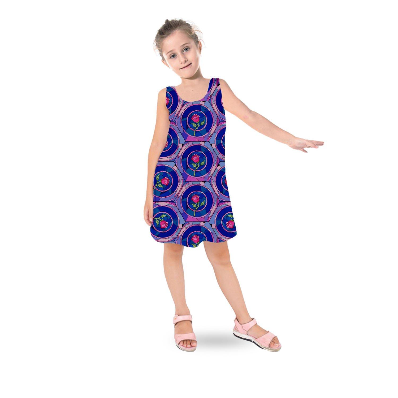 Stained Glass Rose Disney Inspired Kids Sleeveless Dress - 7 Flared Girls