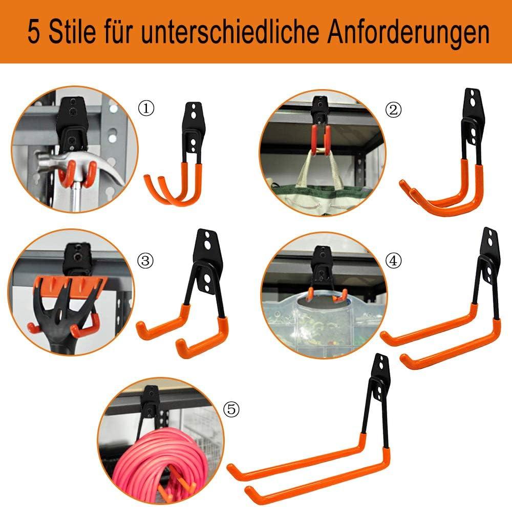 HENGMEI 12 teilig Haken Ger/ätehaken Wandhaken Wandhalterung Werkzeughalter Doppel Schwerlast Gummi Geh/äuse