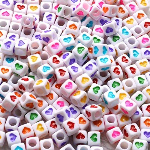 Gresorth 800 PCS Multicolor Heart Shape Acrylic Beads White Cube Bead DIY Bracelets, Necklaces, Key Chains 6x6 mm