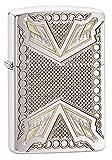 Zippo Armor Arrowhead Design Pocket Lighter, Brushed Chrome