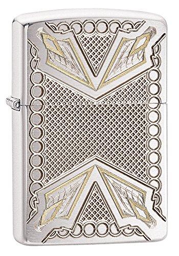 Zippo Armor Arrowhead Design Pocket Lighter, Brushed Chrome (Brushed Design Chrome)