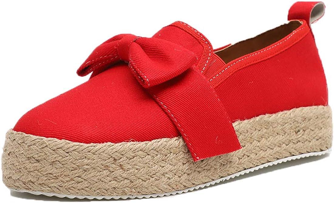 Platform Espadrilles Ladies Flatform Shoes Retro Casual Fashion Flat Bow Shoes for Women Work Slip-On Mid Heel 4.8 cm White Stripe Gold Red Yellow Black Size 3-9