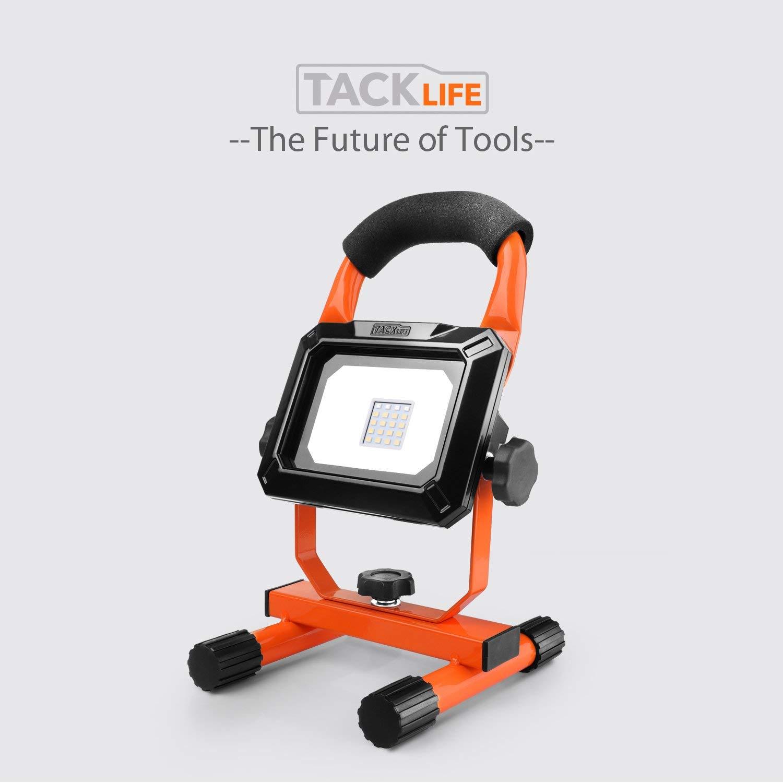 Tacklife - Lámpara de trabajo LED (15 W, recargable ...