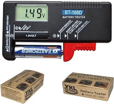Battery Checker Tester Digital Battery Capacity Tester LCD for 9V 1.5V AA AAA Cell C D Batteries Household Model: BT168D