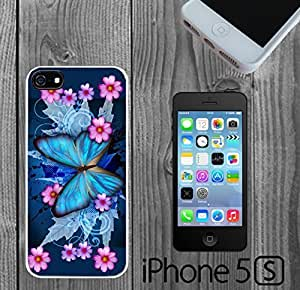 Blue Butterfly Hybrid Custom made Case/Cover/Skin FOR iPhone 5/5s