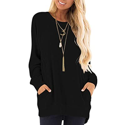 AUSELILY Women's Casual Long Sleeve Round Neck Loose T Shirt Blouse Tops with Pockets (2XL, Black) at Amazon Women's Clothing store