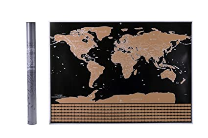 Amazon scratch off world map poster gold foil large size scratch off world map poster gold foil large size 325 x 235 in gumiabroncs Image collections