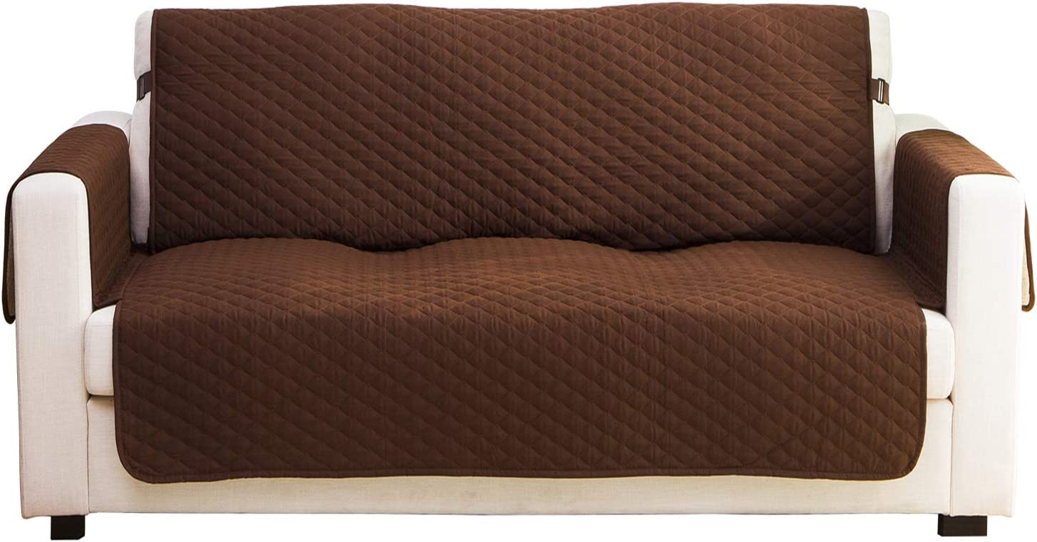 """Haowaner Dual Waterproof & Water Resistant Couch Cover for Pet, Premium Quilted Large Sofa Cover for Dogs Cats Resistant Sofa Protector for Living Room, Furniture Cover Seat Width up to 78""""-80"""",Brown"""