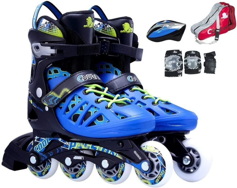 GJF ユースインラインスケート、成人男性と女性のプロ用クォードスケート、調節可能な学生用ローラースケート(レッドシルバーブルー) (Color : 黒 青, Size : L (EU 41-44)) 黒 青 L (EU 41-44)