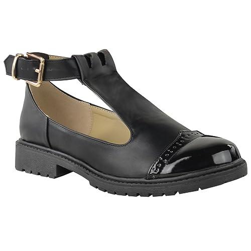 Mujer Zapatos Niña Escuela Corte Grueso Muñequita Geek Zapatillas Trabajo Talla - Negro Piel Sintética/Charol, Negro Piel Sintética/Charol, 41, ...