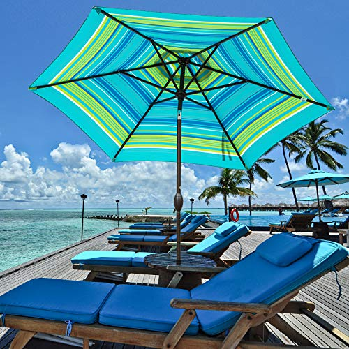 Abba Patio Turquoise Striped Outdoor Umbrella 9-Feet Table Umbrella with Push Button Tilt and Crank Lift