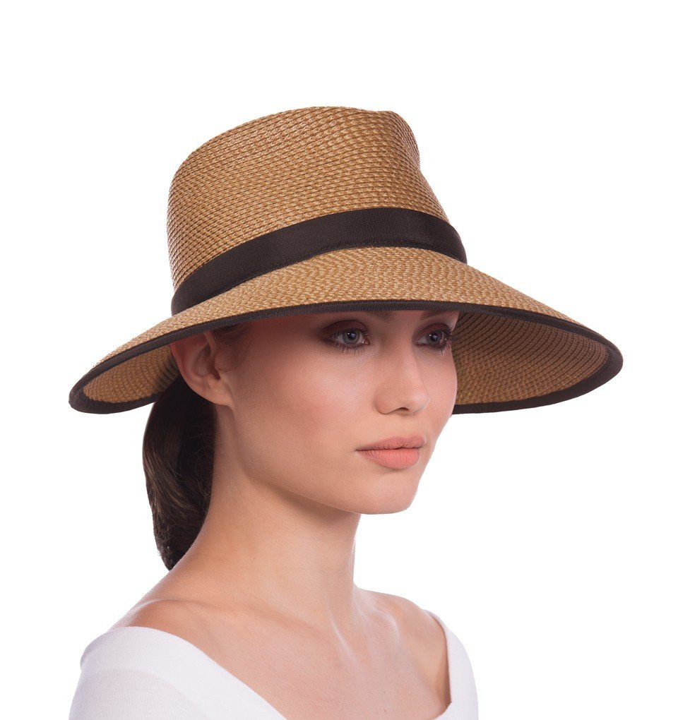 Eric Javits Luxury Fashion Designer Women's Headwear Hat - Sun Crest - Natural/Black