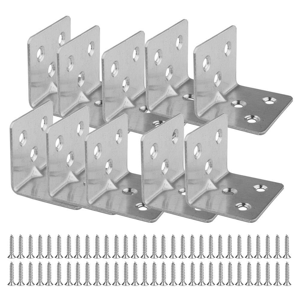 Forma de L Esquina de /ángulo Soporte de de Refuerzo 30 x 38mm//40 x 40mm SENDILI 10 Piezas Soportes de Angulo de 90 Grados de Acero Inoxidable con Tornillos Plateado 30 * 38mm-6 Hoyos