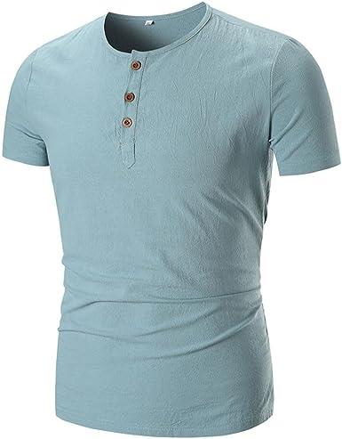 FAMILIZO Camisetas Manga Corta Hombre Moda Camisetas Hombre Lino Camisetas Hombre Verano Blusa Hombre Manga Corta Tops Camisetas Hombre T Shirts for Men Blusa Hombre Blanca: Amazon.es: Ropa y accesorios