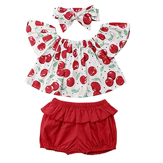 230013a769450 Amazon.com: Toddler Baby Girl Summer Outfits Cherry Print Tank Tops+Ruffle Bloomers  Shorts with Headbands 3Pcs Clothes Set: Clothing