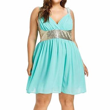 Women Dresses, vermers V-Neck Party Sleeveless Sequins Empire Waist Chiffon Dress (L