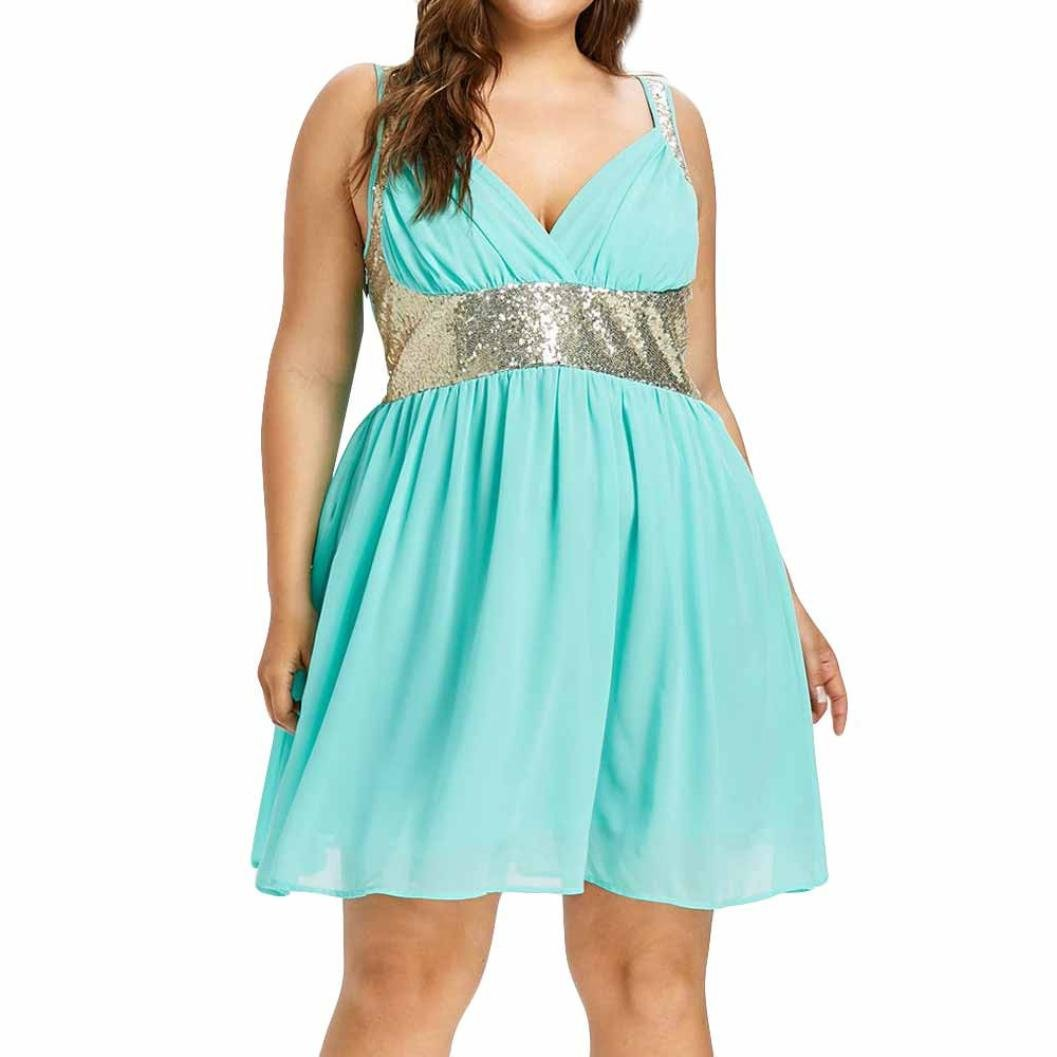 Women Dresses, vermers V-Neck Party Sleeveless Sequins Empire Waist Chiffon Dress (4XL, Mint Green)