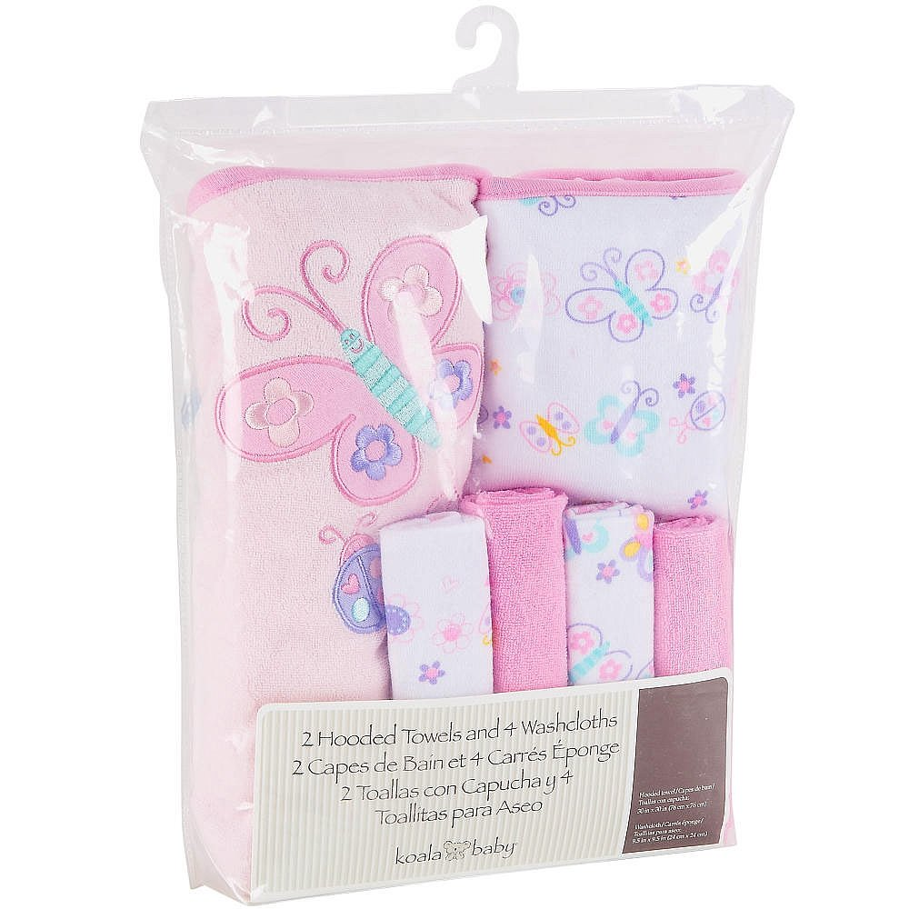 Amazon.com : Koala Baby Girls 2 Pack Towel and 4 Pack Washcloth Set - Pink Butterfly : Baby